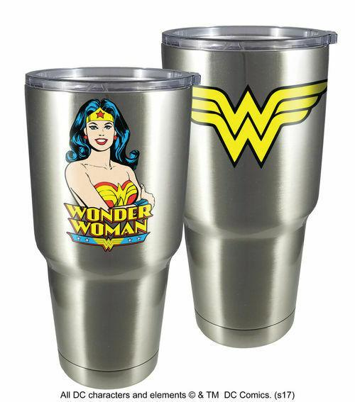 Spoontiques 18464 Wonder Woman Large Stainless Steel Mug, 30 ounces, Silver