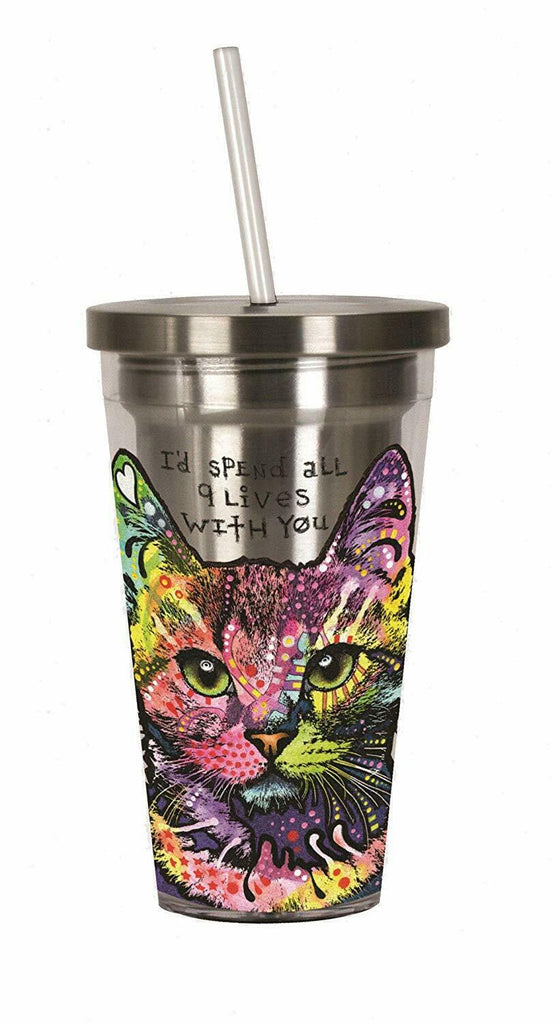 Spoontiques 20518 Dean Russo Cat Stainless Steel Cup with Straw, 16 ounces, Mult