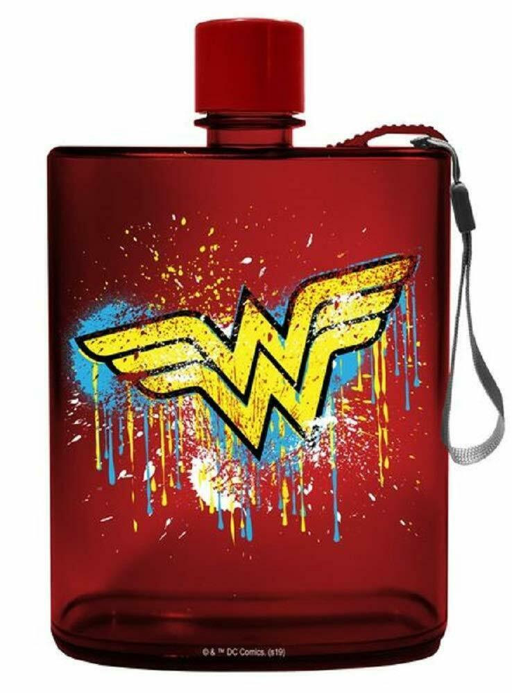 Spoontiques 21152 Wonder Woman Graffiti Acrylic Flask, 12 ounces, Red