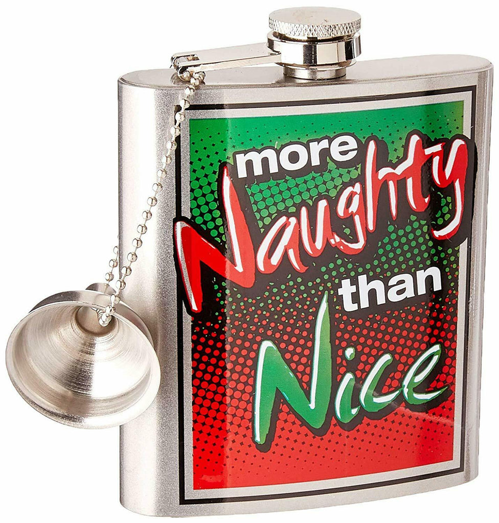 Spoontiques 15791 Hip Flask, More Naughty Than Nice, 7 Ounce, Green