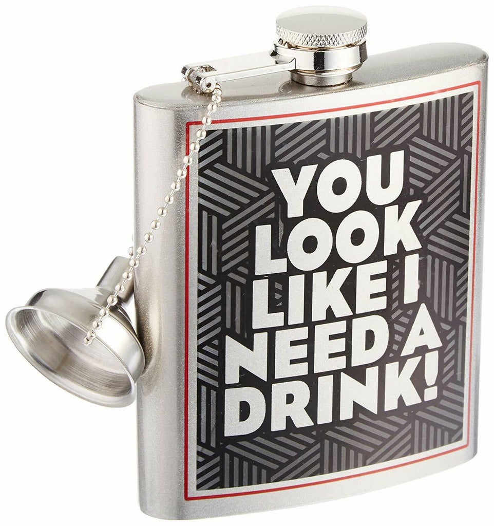 Spoontiques 15745 Hip Flask, You Look Like, 7 ounces, black