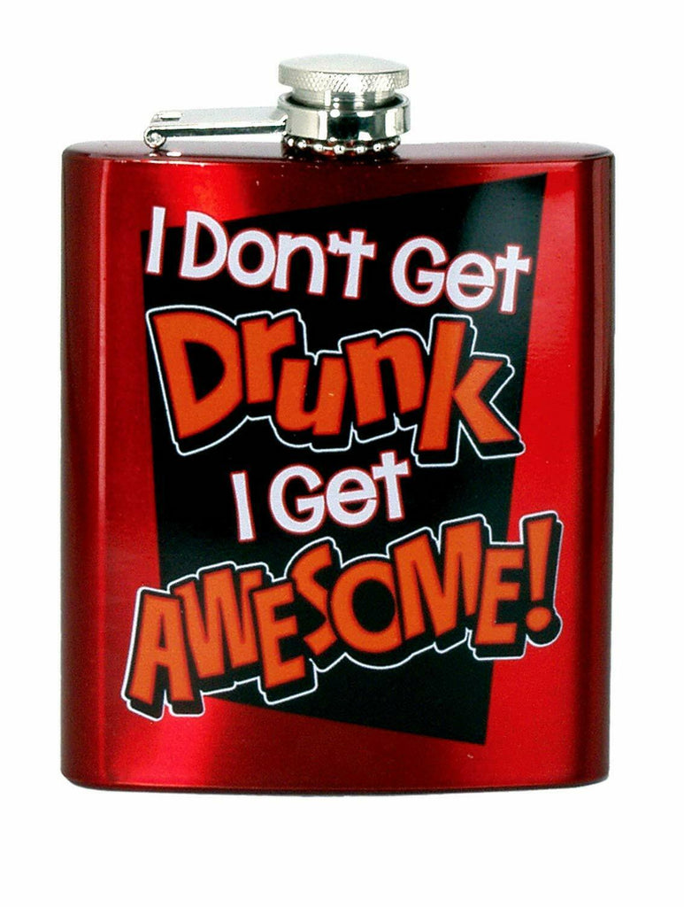 Spoontiques 15774 Hip Flask, I Don't Get Drunk , 7 Ounces, Red