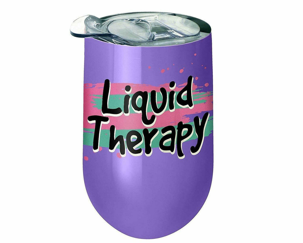 Spoontiques 16932 Liquid Therapy Stainless Wine Tumbler, 14 ounces, Purple
