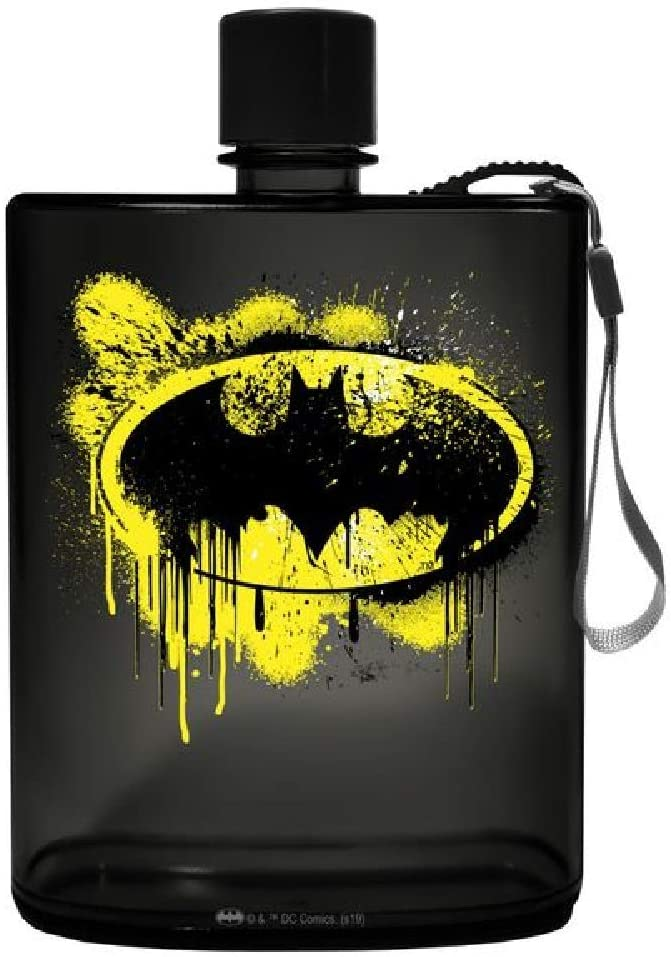 Spoontiques 21150 Batman Graffiti Acrylic Flask, 12 ounces, Black