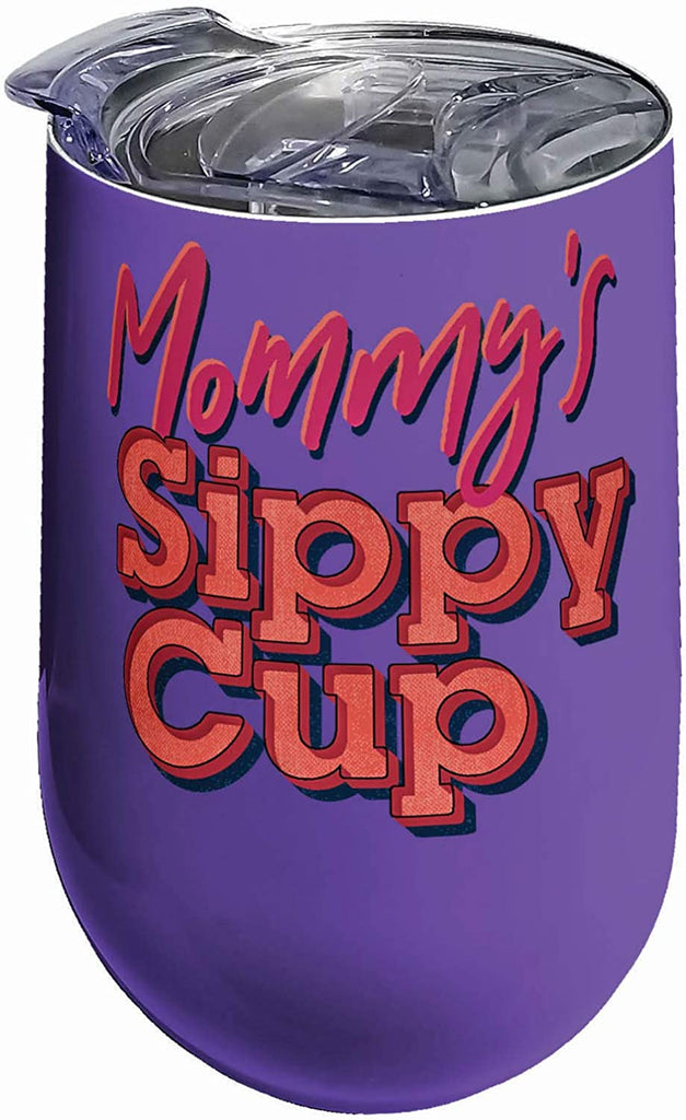 Spoontiques Mommy's Sippy Cup Stainless Steel Tumbler, 16 ounces, Purple