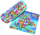 Spoontiques Live Love Laugh Eyeglass Hard Case with Matching Lens Cloth