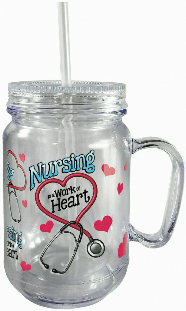 Spoontiques 17922 Nurse Insulated Mason Jar, 18 oz, Pink