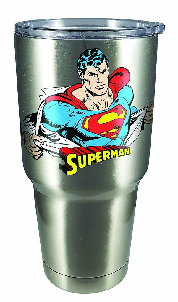 Spoontiques 18463 Superman Large Stainless Steel Mug, 30 ounces, Silver