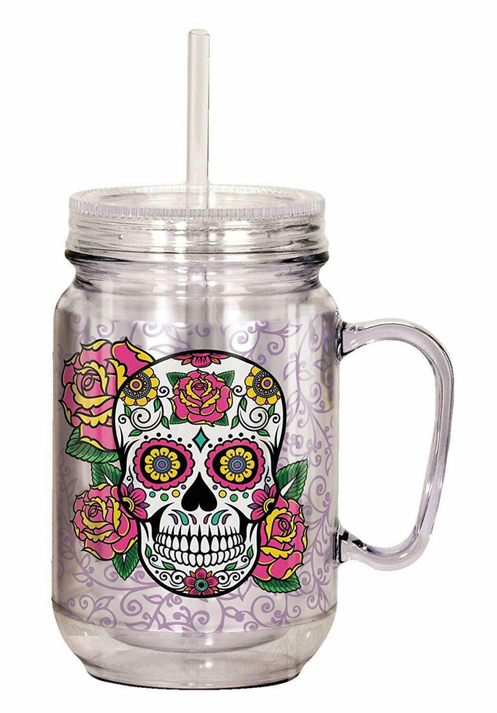Spoontiques 17976 Sugar Skull Mason Jar, 18 ounces, Multicolor