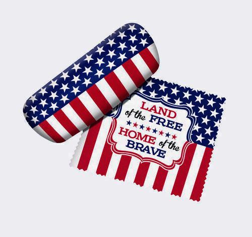 Spoontiques 13694 Land of the Free Flag Eyeglass Case and Cleaner