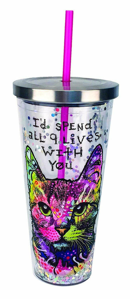 Spoontiques 21307 Dean Russo Cat Glitter Cup With Straw, 20 ounces, Multicolor