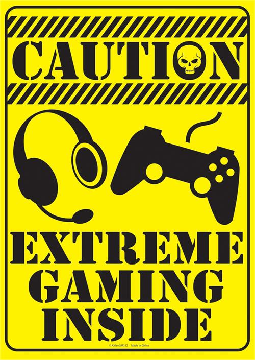 "Caution Extreme Gaming Tin Sign - 8 1/2"" X 11.75"""