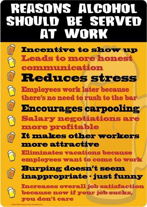 "Reasons Alcohol Should be Served at Work Tin Sign - 8 1/2"" X 11.75"""