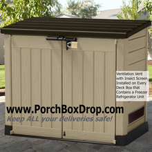 Load image into Gallery viewer, Perfect PorchBoxDrop Lockable Resin Storage Box for Yard, Deck, Garage or Porch (Can Contain Freezer/Refrig)