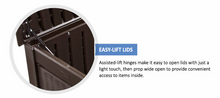 Load image into Gallery viewer, Brown, Wicker-Look, Lockable PorchBoxDrop Storage for Yard, Deck, Garage or Porch (Can Contain Freezer/Refrig)