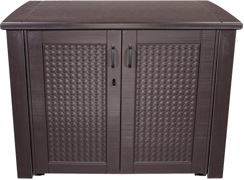 Brown, Wicker-Look, Lockable PorchBoxDrop Storage for Yard, Deck, Garage or Porch (Can Contain Freezer/Refrig)