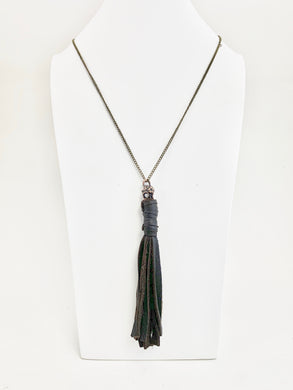 Brown Leather Tassel w/ Skull Pendant