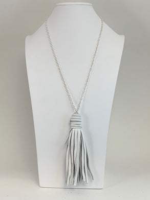 White Leather Tassel