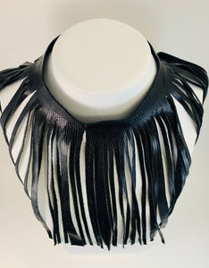 Shredded Leather Statement Necklace