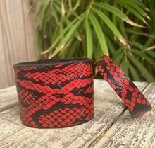 Load image into Gallery viewer, Red Leather Snakeskin Bracelet/Cuff