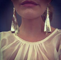 Metallic Gold Leather Earrings