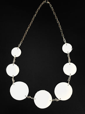 Circle Necklace White Leather