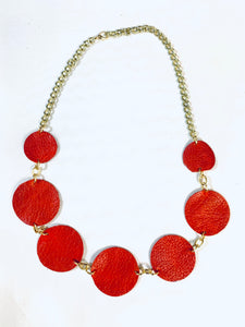 Circle Necklace Red Leather