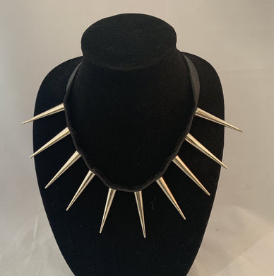 Rani Leather and Spike Necklace