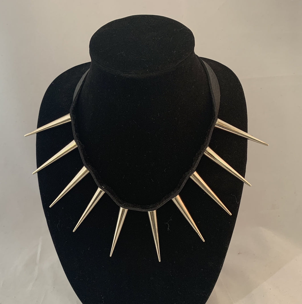 Leather and Spike Necklace