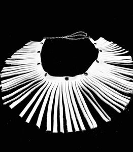 Wrap Around White Leather Fringe Necklace