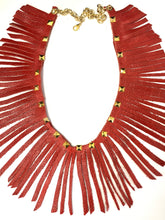 Load image into Gallery viewer, Wrap Around Red Leather Fringe Necklace