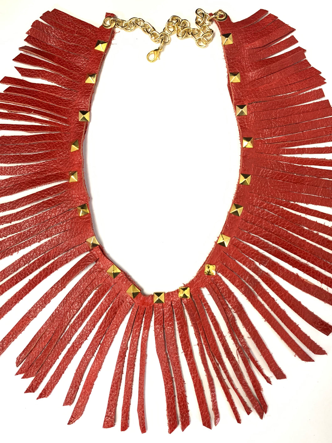 Wrap Around Red Leather Fringe Necklace
