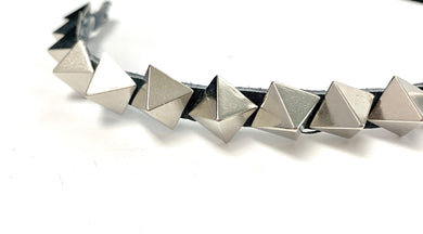 Pyramid Spike Leather Choker Necklace