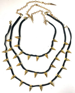 Layered 'Spiderweb' Spiked Necklace