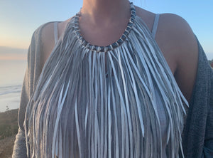 Boho Chic 'Bib Style' Fringe Leather Necklace