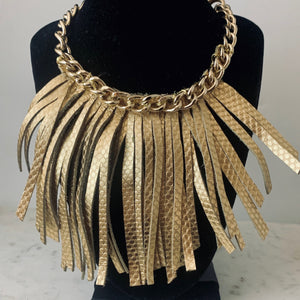 Chain and Fringe Leather Necklace