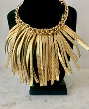 Load image into Gallery viewer, Chain and Fringe Leather Necklace