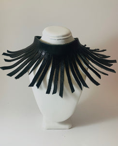 Flexible Fringe Leather Necklace