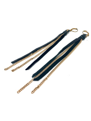 Cathy Earrings. Long Leather and Chain Earrings