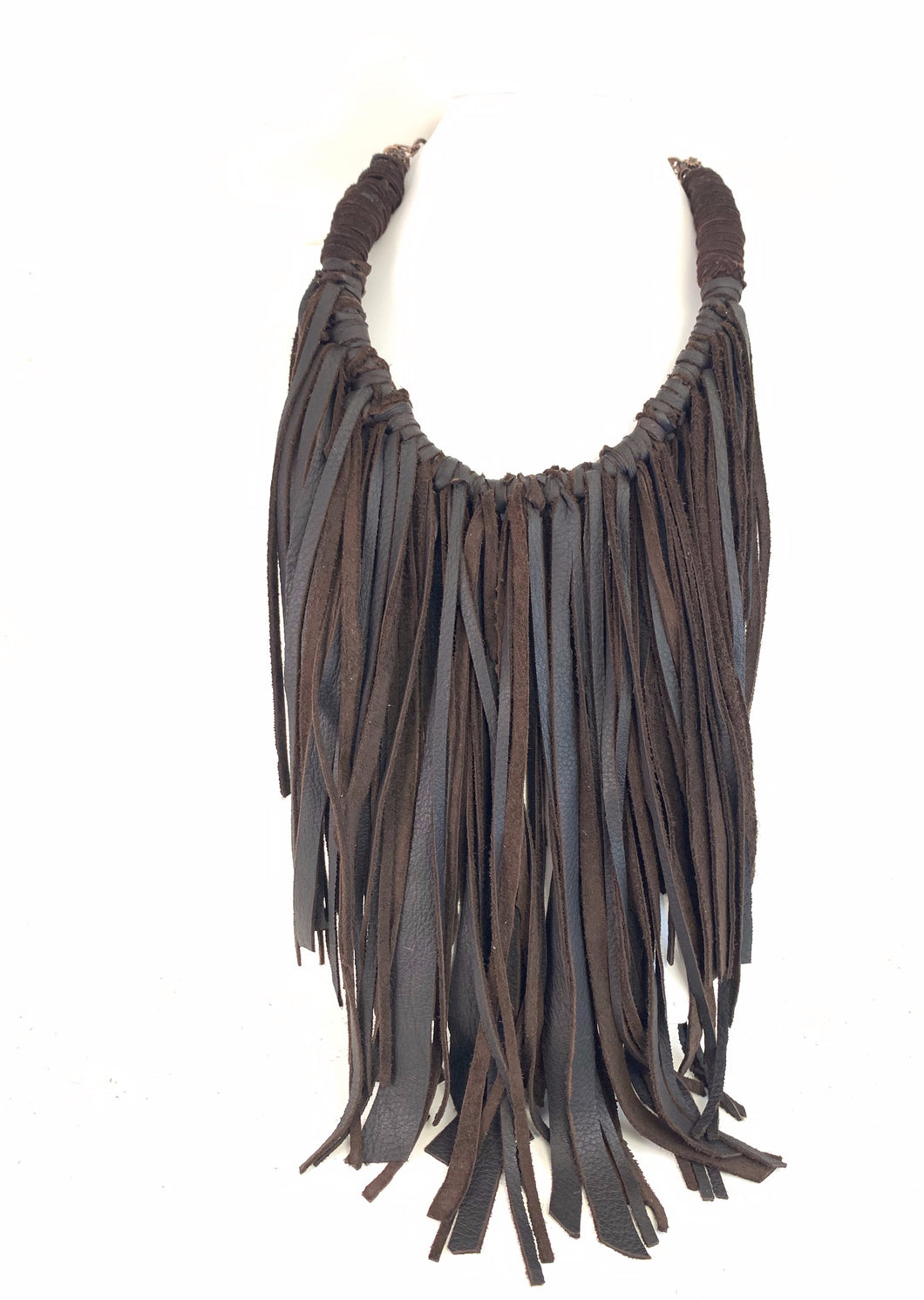 Woven 'Bib Style' Leather Necklace
