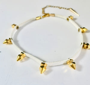 Hexagon Spike 24kt Gold Choker