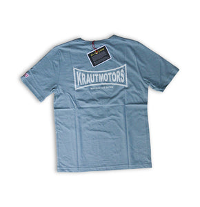 "KRAUTMOTORS ""MAKE RACE NOT WAR"" T-Shirt Blau/Oliv"