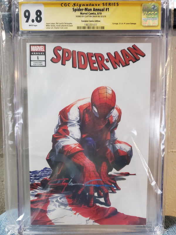 SPIDER-MAN #1 ANNUAL SIGNED CLAYTON CRAIN 9.8