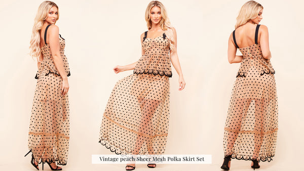 Vintage peach Sheer Mesh Polka Skirt Set