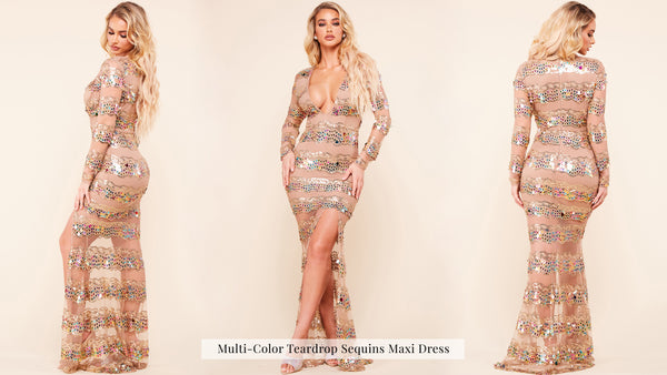 Multi-Color Teardrop Sequins Maxi Dress