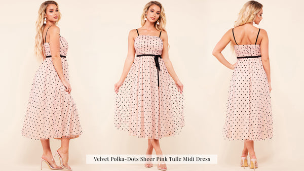 Velvet Polka-Dots Sheer Pink Tulle Midi Dress