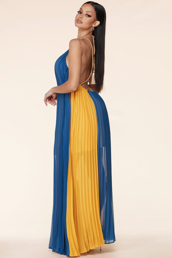 Blue Yellow Trapeze Maxi Dress
