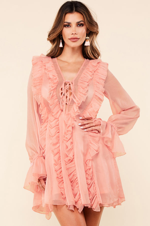 Blush Pink Chiffon Mini Dress
