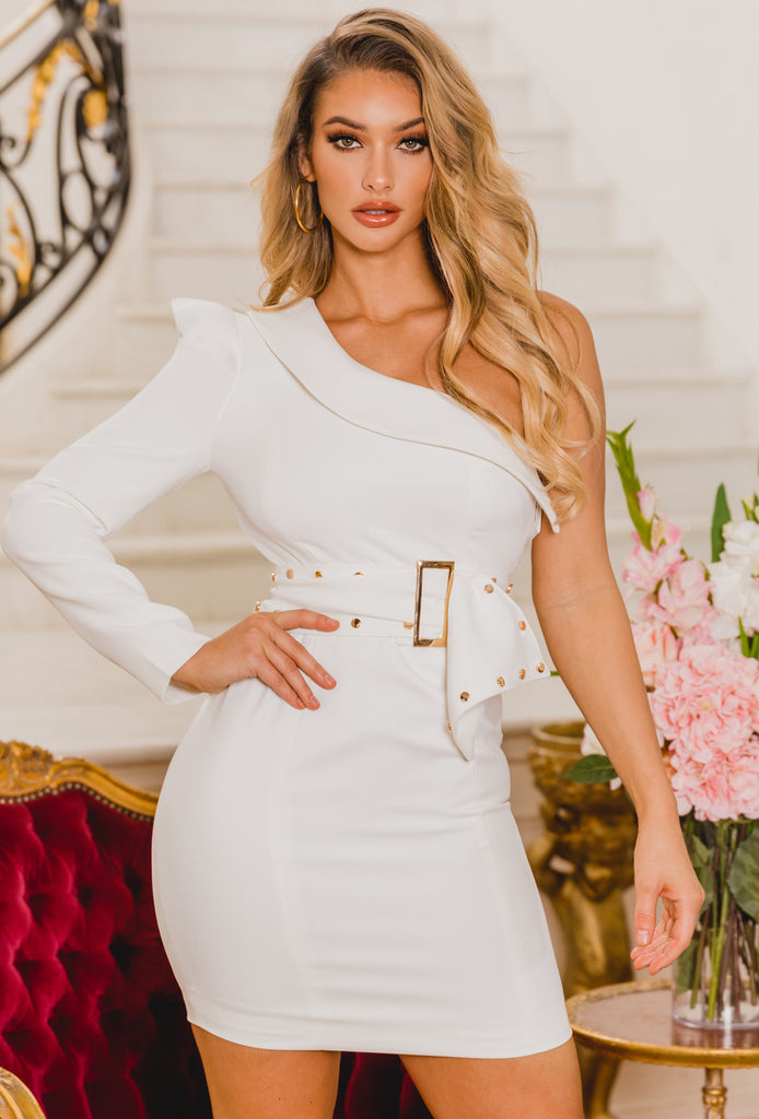 Karla One Shoulder White Mini Dress