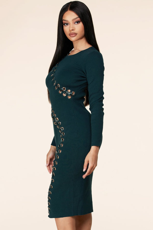 Grommet Detail Bodycon Dress
